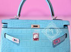 Hermes Blue Saint CYR Matte Crocodile Kelly 25 Handbag - New