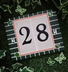 Handmade..Green, White & Orange. (25cm × 20cm) House Numbers, Mosaic, Orange, Green, Handmade, Hand Made, Craft, Mosaics, Tile Mosaics