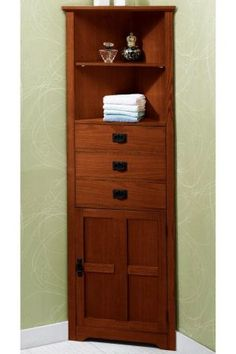 Corner Bathroom Cabinet ~ Love The Corner Usage! Need This In White!