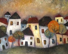 The Country Town by Jeremy Mayes Art Fantaisiste, Arte Popular, Naive Art, Whimsical Art, Urban Art, Oeuvre D'art, Painting Inspiration, Home Art, Art Projects
