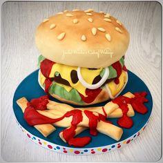 Hamburger and fries cake