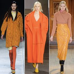 Orange Is the New Black Along with blue, the other big hue on the London catwalk was orange. From citrus brights to more muted marigold shades, designers showed loads of looks, almost all colorblocked to the max with matching shoes or tights and layered shades. Is the orange coat the new pink coat? Only time can tell.