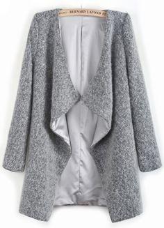 Grey Long Sleeve Asymmetrical Lapel Woolen Coat