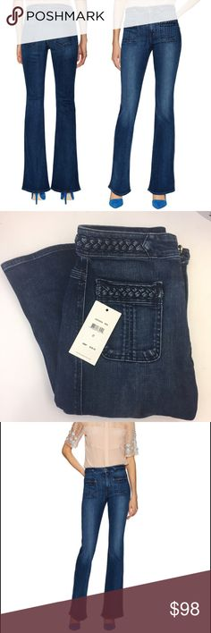 """7FAM braided flare jeans high waisted NWT 7 for all mankind braided flairs. NWOT attached – tried on once and took the tag off but I still have the tag. Woven cotton-blend jeans High-rise Contrast panel at waist and pockets Front and back patch pockets Tonal top stitching and panel seaming Button closure with zip fly  Rise: 9"""" Inseam: 32"""" ; taken from size 27"""" * Model's height is 5' 9""""  Please note, any whiskering, distressing or fading is an intentional and desirable aspect of this product…"""