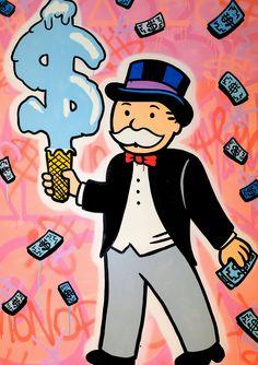 Monopoly Dollar Cone by Alec Monopoly, Original mixed media painting on . Arte Hip Hop, Hip Hop Art, Modern Art Pictures, Monopoly Man, Pinturas Disney, Graffiti Wall Art, Dope Art, Cute Wallpapers, Art Drawings