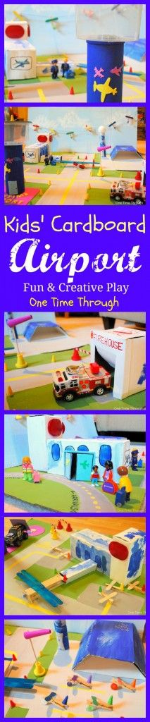 Kids Cardboard Airport - Repurposed Cardboard Boxes - make this fun activity with your child! Educational Activities, Preschool Activities, Children Activities, Diy For Kids, Crafts For Kids, Transportation Theme, Preschool Transportation, Small World Play, Tot School