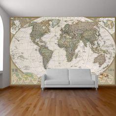 World map wall paper mural, self adhesive old style world map. Globe wall decal, photo mural, art decal, ancient world map wall sticker. | Vinyl Impression