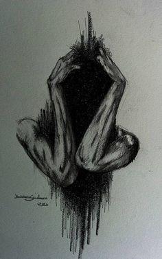 Anxiety by ArtistKS. on Anxiety by ArtistKS. Creepy Drawings, Dark Art Drawings, Creepy Art, Pencil Art Drawings, Art Drawings Sketches, Arte Horror, Horror Art, Sad Art, Art Sketchbook