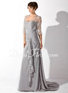 A-Line/Princess Sweetheart Court Train Chiffon Tulle Mother of the Bride Dress With Lace Beading (008006149)