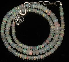 """35 Ctw 1Necklace 3to6mm 15"""" Beads Natural Genuine Ethiopian Welo Fire Opal 93698"""