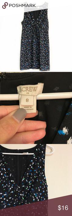 """J. CREW factory black wrap dress size 8 J. Crew factory black wrap dress with blue and green """"splatters"""" throughout. Excellent used condition. Armpit to armpit measures 17.5"""", length 35.5"""", waist 15"""". J. Crew Factory Dresses"""