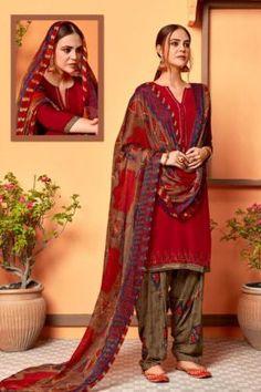Patiyala Dress, Daily Wear, Ethnic, Swarovski, Sari, Buttons, Suits, Red, How To Wear