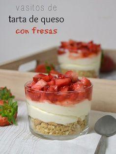 Vasitos de tarta de queso con fresas | Cuuking! Recetas de cocina