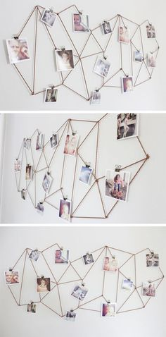 Kids Room: DIY Dorm Room Decor Ideas - Geometric Photo Display - Cheap DIY Dorm Decor Projects for College Rooms - Cool Crafts, Wall Art, Easy Organization for Girls - Fun DYI Tutorials for Teens & College Students Cheap Diy Dorm Decor, Easy Home Decor, Diy Room Decor For College, Room Decor Diy For Teens, Diy Dorm Room, Easy Diy Room Decor, Decor Room, Modern Room Decor, Cheap Wall Decor