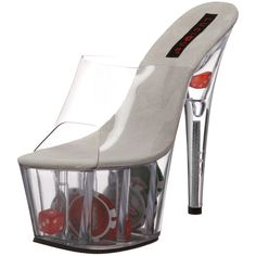 Pleaser Women's Adore-701DC Platform Sandal,Clear,7 M US. Slip into this smokin hot sandal from Pleaser and shake things up. The Adore-701DC features a transparent upper atop a bordering-on-dangerous transparent heel containing poker chips and dice. Wear this outrageously sassy shoe and all bets are on. Size: 8.