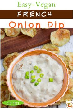 Vegan French onion dip from EatPlant-Based is low fat and delicious. This dairy-free dip is easy to make! Caramelized onions give a sweetness to the recipe and make it flavorful. This creamy dip goes well served with chips, crusty bread, or veggies. Serve this French onion dip as an appetizer for your Superbowl party! #vegandip #veganappetizers #footballfood #plantbasedrecipes #plantbased #veganrecipes #veganrecipeseasy #dairyfree