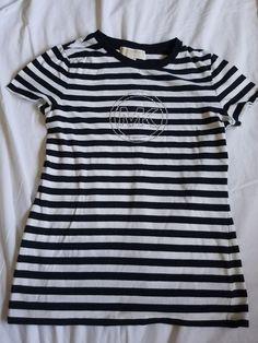 Michael Kors Black White Stripe T Shirt MK Embellishment size S #MichaelKors #TShirt