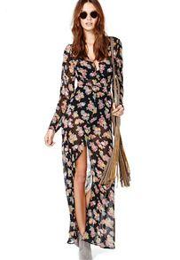 maxi robe fendue motif floral