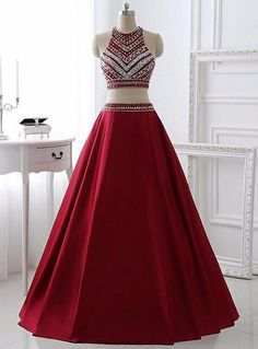 Cheap Feminine Burgundy Prom Dresses, Long Prom Dresses, Sleeveless Prom Dresses, Beaded/Beading Prom Dresses, Floor-length Prom Dresses