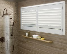 Lustrous, radiant, durable, even in tropical or moist conditions like a bathroom. Palm Beach™ Polysatin Shutters ♦ Hunter Douglas Window Treatments #chtcontest