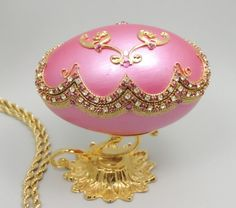 Pink Scallop Egg Jewelry Box Ring Box Faberge by NatalieOrigStudio, $95.00