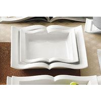 CAC GBK-110 Goldbook Book-Shaped Square China Pasta Plate 22 oz. - 12/Case