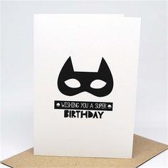 Birthday Card Boy - Monochrome Superhero Mask - HBC224