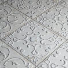 Merola Tile Aevum White Ornato 7 x 7 Ceramic Wall Tile sq. Ceramic Mosaic Tile, Stone Mosaic Tile, Porcelain Tile, Vintage Lanterns, Tiles Texture, Home Improvement, Kitchen Remodel, Kitchen Reno, Ranch Kitchen