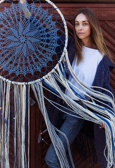 Items similar to Dream catcher wall hanging, navy tapestry, boho dream catcher, mandala wall hanging, dream catcher decor on Etsy Blue Dream Catcher, Dream Catcher Decor, Beautiful Dream Catchers, Large Dream Catcher, Crochet Dreamcatcher, Crochet Mandala, Los Dreamcatchers, Sun Catchers, Feather Wall Art