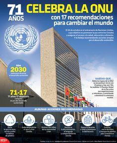 El 24 de octubre es el aniversario de las Naciones Unidas, cuyo objetivo es promover la paz entre los Estados y asegurar el acceso a la salud, educación y alimento, por lo que la ONU festeja recomendando acciones simples por el desarrollo sostenible. #Infographic