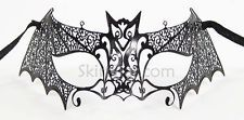 Bat LASER CUT Metal Venetian Mask Masquerade Costume BLACK NEW Fancy Dress Ball