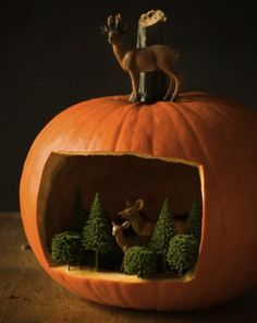 Make a diorama inside a pumpkin.   30 Cute And Clever Ways To Decorate For Thanksgiving