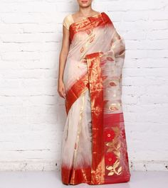 White And Red Hand Woven Silk And Cotton Saree
