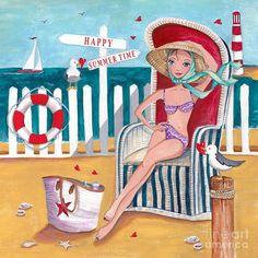 Summer Beach ~ Artist: Caroline Bonne-Muller,Summer it is my favorite season.