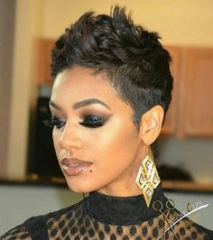 Sweet and Spicy Bacon Wrapped Chicken Tenders fancy hair Short short haircut styles for black hair - Black Haircut Styles Short Sassy Hair, Short Hair Cuts, Short Pixie, Pixie Cuts, Short Wavy, Fancy Hairstyles, Pixie Hairstyles, Pixie Haircuts, Bouffant Hairstyles