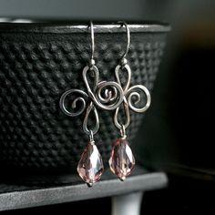 Handmade copper swirl earrings, oxidized copper, light purple glass drop, lilac, sterling ear wires, dangle, Mimi Michele Jewelry