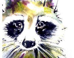 Raccoon Watercolor Art Print