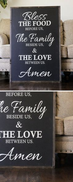 Bless The Food Before Us sign, like this in the dinning room! #decor #walls #etsy #framed #ad #blessed #family