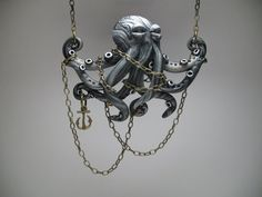 Chained Silver Octopus Necklace  Polymer Clay by MythicSculptlore