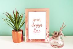 Mint & Rose Gold Photo Frame Mockup  @creativework247