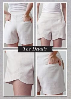 DIY :: Scalloped Hem Shorts PDF Pattern, would look wonderful on the front of the legs of dress pants