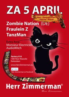 SAT. 5 APRIL! - Herr Zimmerman's Horror Show Party! - The most legendary extravert techno party of the universe! ;-)  Herr Zimmerman Party impressions!  Moee info: www.HerrZimmerman.eu  Facebook: www.facebook.com/HerrZimmerman
