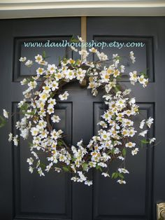 White Apple Blossom Spring and Summer Wreath by Daulhouseshop, $58.00
