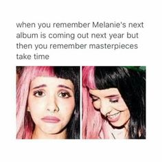 Her music has so much meaning and is so unique. Each song is a work of art so a masterpiece must have time to be accomplished. Melanie Martinez Music, Crybaby Melanie Martinez, Pity Party, Music Stuff, Music Things, She Song, Cry Baby, Her Music, Alycia Debnam