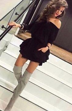 #fall #outfits women's black off-shoulder mini dress
