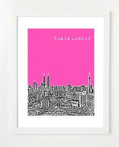 Kuala Lumpur, Malaysia Poster - 8x10 City Skyline Art Print - Choose Your Color on Etsy, $22.78 AUD