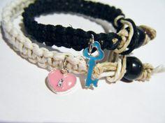 Pink Lock Blue key couples bracelets