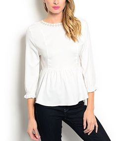 Another great find on #zulily! White Embellished Peplum Top by Buy in America #zulilyfinds