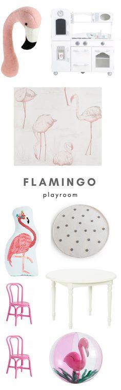 Flamingo playroom. Cute playroom ideas. Kids playroom with flamingos. Flamingo nursery. Flamingo kids style. Nursery ideas. Nursery style. #playroom #flamingonursery