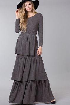 modest fashion, modest bridesmaid dresses, modest clothing, modest dresses, modest skirt, modest top, modest apparel, hijab, long sleeves, 3/4 sleeves, modest swimwear, ruffles and lace, long dress, modest swimsuit, bow dress, lace dress, elegant, victorian, vintage, bridesmaid, wedding, flower girl, plus size, charcoal gray ruffle dress